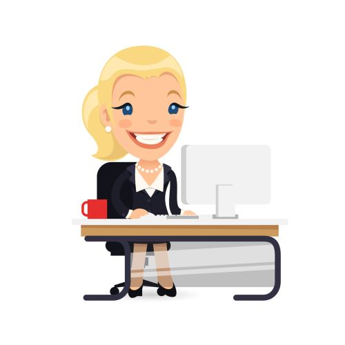 Business Lady at Her Desk. Isolated on white background. Clipping paths included in additional jpg format.