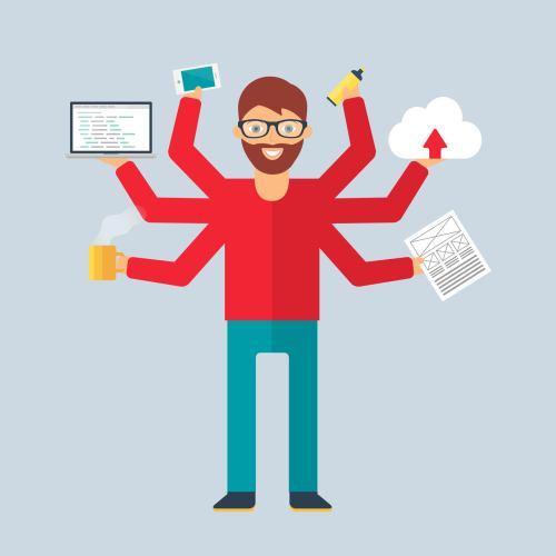 Multitasking character: programmer. Flat style, vector illustration