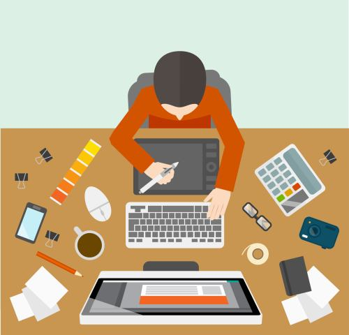 Office business designer management workplace with male on the computer   illustration